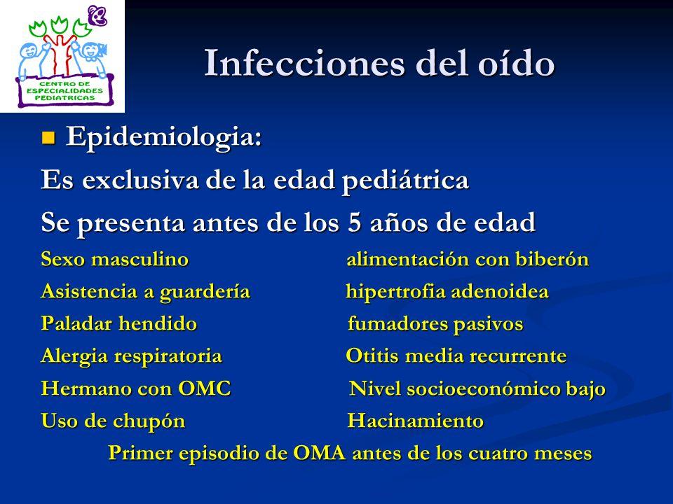 Infecciones del oído Epidemiologia: Epidemiologia: Es exclusiva de la edad pediátrica Se presenta antes de los 5 años de edad Sexo masculino alimentac