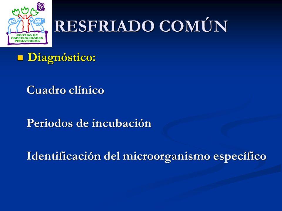 RESFRIADO COMÚN Diagnóstico: Diagnóstico: Cuadro clínico Cuadro clínico Periodos de incubación Periodos de incubación Identificación del microorganism