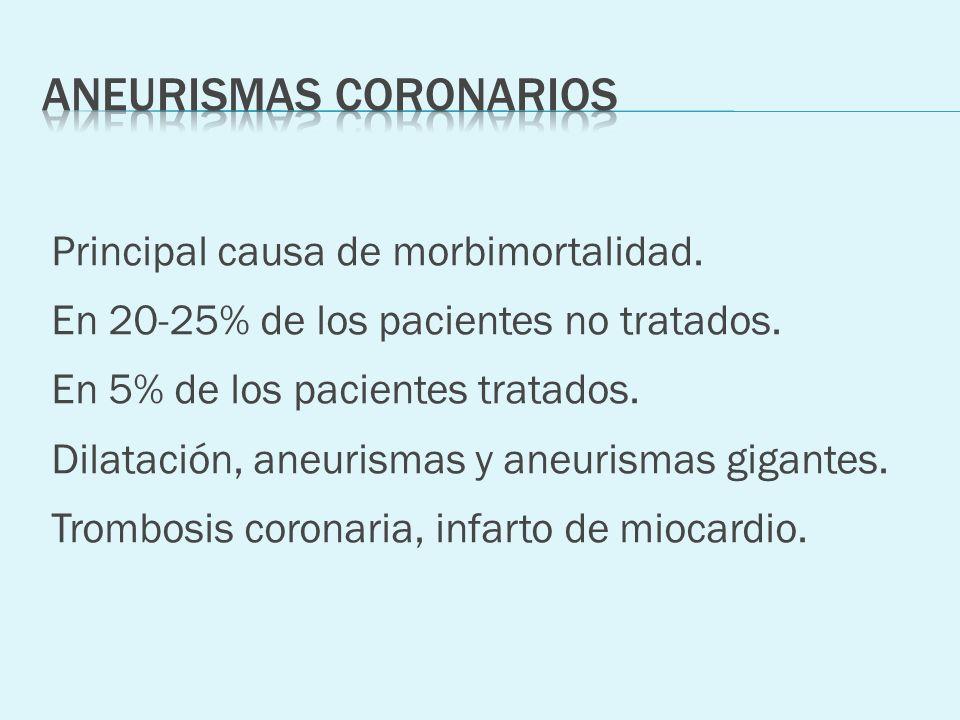 Principal causa de morbimortalidad. En 20-25% de los pacientes no tratados. En 5% de los pacientes tratados. Dilatación, aneurismas y aneurismas gigan