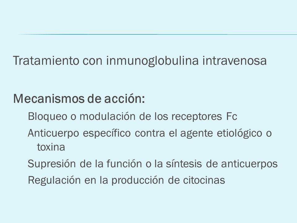Tratamiento con inmunoglobulina intravenosa Mecanismos de acción: Bloqueo o modulación de los receptores Fc Anticuerpo específico contra el agente eti