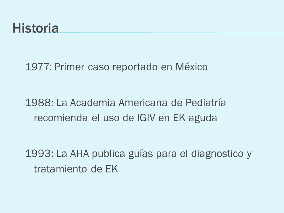 Historia 1977: Primer caso reportado en México 1988: La Academia Americana de Pediatría recomienda el uso de IGIV en EK aguda 1993: La AHA publica guí