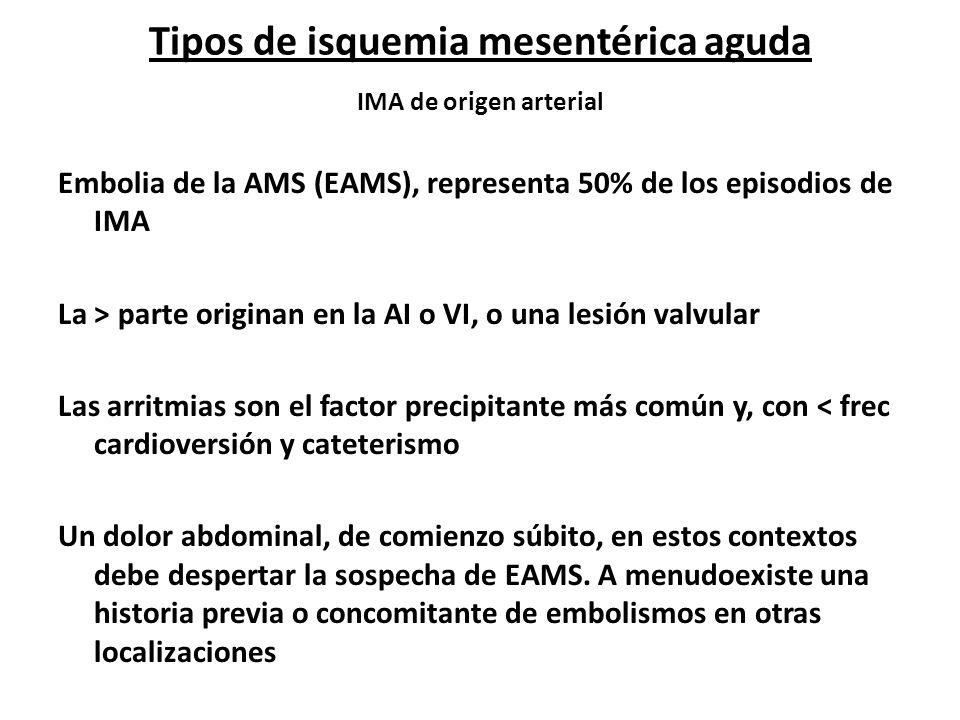 Tipos de isquemia mesentérica aguda IMA de origen arterial Embolia de la AMS (EAMS), representa 50% de los episodios de IMA La > parte originan en la