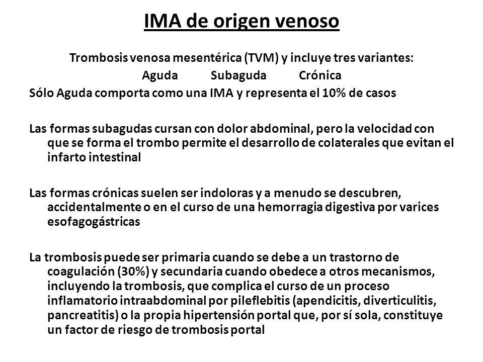 IMA de origen venoso Trombosis venosa mesentérica (TVM) y incluye tres variantes: Aguda Subaguda Crónica Sólo Aguda comporta como una IMA y representa