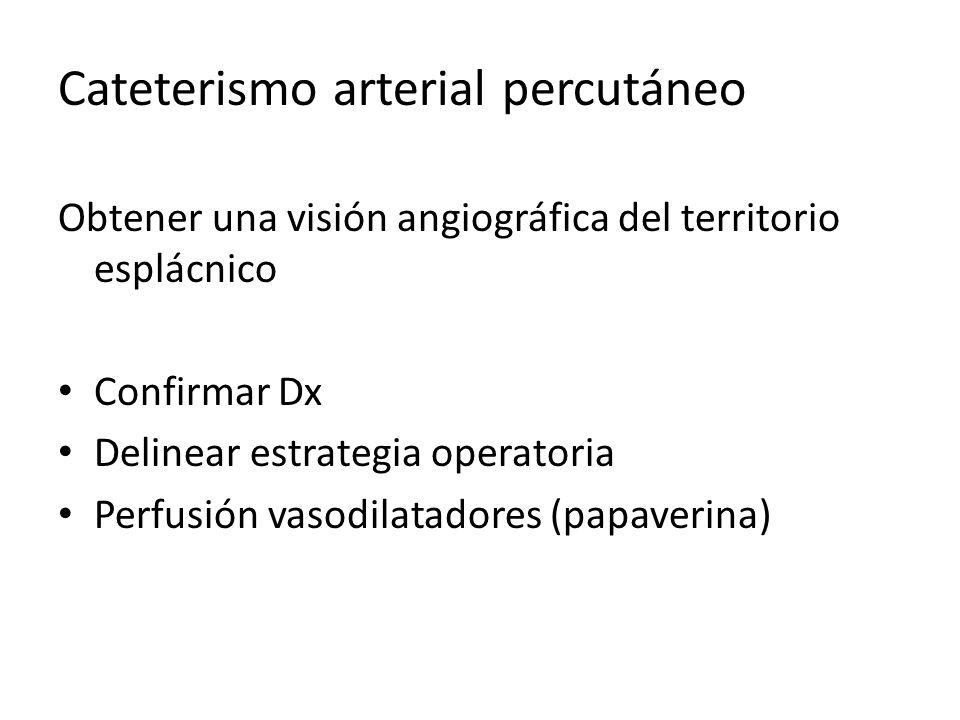 Cateterismo arterial percutáneo Obtener una visión angiográfica del territorio esplácnico Confirmar Dx Delinear estrategia operatoria Perfusión vasodi
