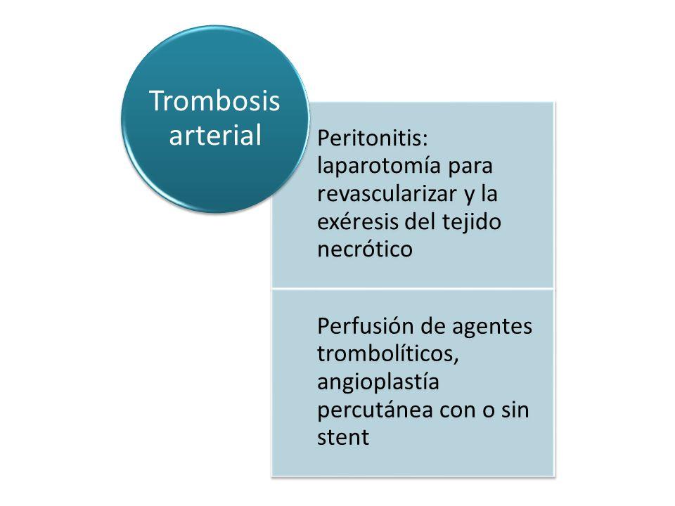 Peritonitis: laparotomía para revascularizar y la exéresis del tejido necrótico Perfusión de agentes trombolíticos, angioplastía percutánea con o sin