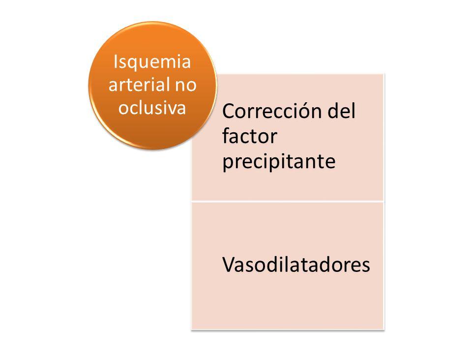 Corrección del factor precipitante Vasodilatadores Isquemia arterial no oclusiva