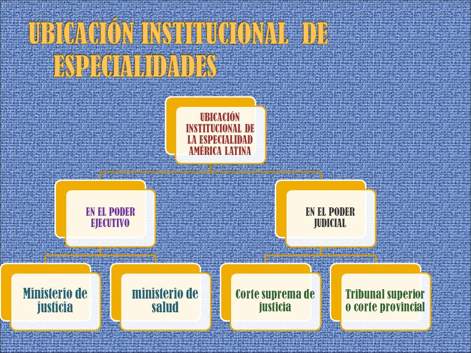 UBICACIÓN INSTITUCIONAL DE LA ESPECIALIDAD AMÉRICA LATINA EN EL PODER EJECUTIVO Ministerio de justicia ministerio de salud EN EL PODER JUDICIAL Corte