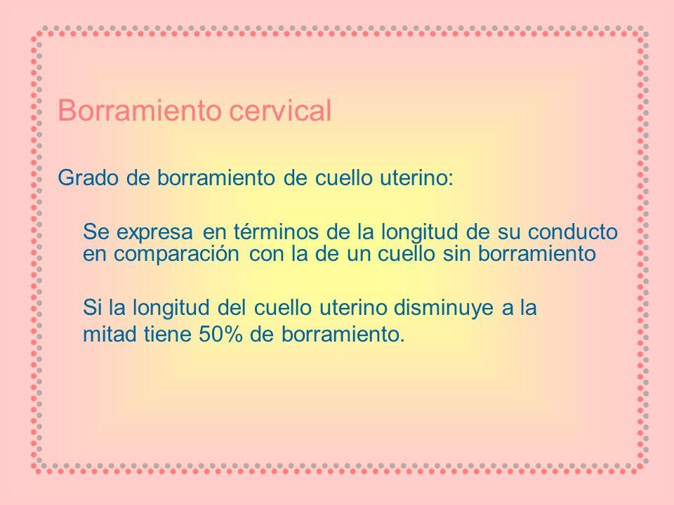 Borramiento cervical Grado de borramiento de cuello uterino: Se expresa en términos de la longitud de su conducto en comparación con la de un cuello s