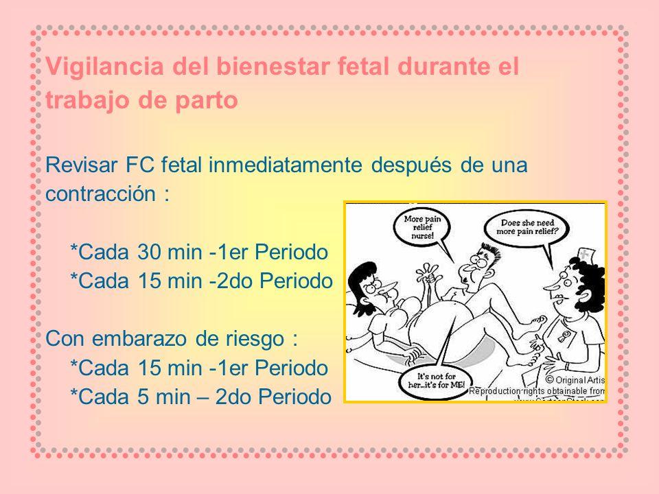 Vigilancia del bienestar fetal durante el trabajo de parto Revisar FC fetal inmediatamente después de una contracción : *Cada 30 min -1er Periodo *Cad