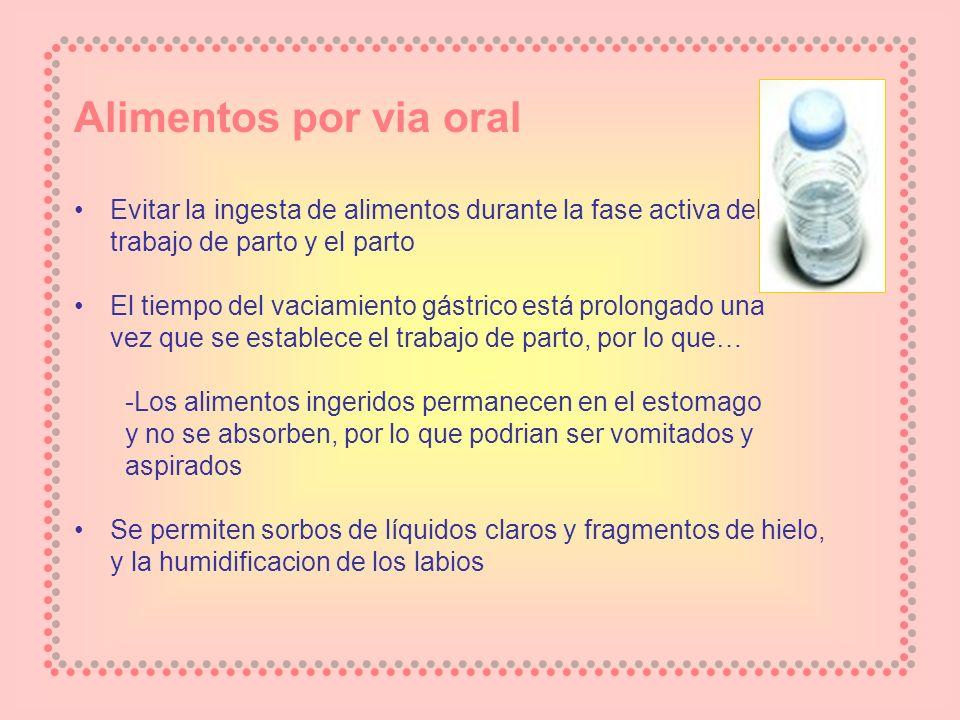 Alimentos por via oral Evitar la ingesta de alimentos durante la fase activa del trabajo de parto y el parto El tiempo del vaciamiento gástrico está p
