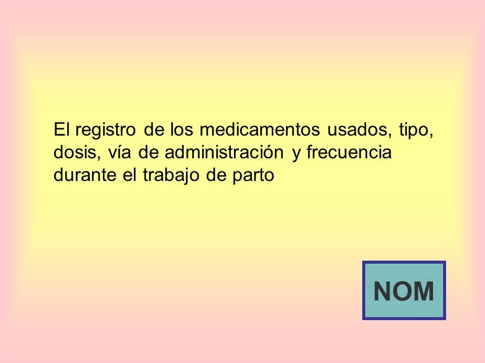 El registro de los medicamentos usados, tipo, dosis, vía de administración y frecuencia durante el trabajo de parto NOM