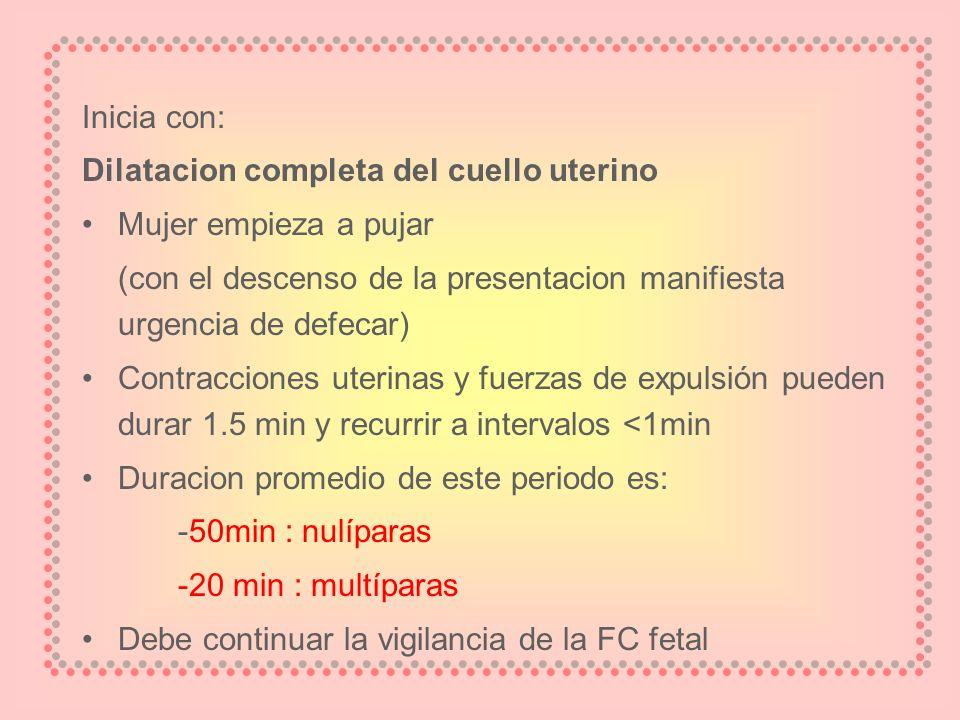 Inicia con: Dilatacion completa del cuello uterino Mujer empieza a pujar (con el descenso de la presentacion manifiesta urgencia de defecar) Contracci