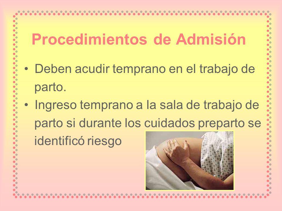Procedimientos de Admisión Deben acudir temprano en el trabajo de parto. Ingreso temprano a la sala de trabajo de parto si durante los cuidados prepar