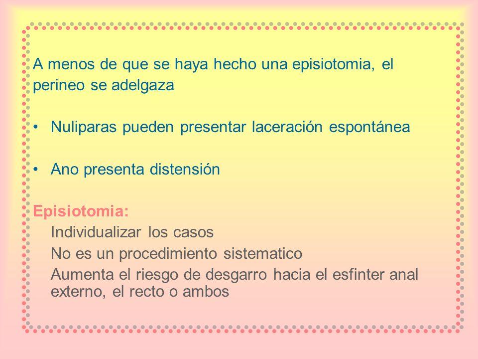 A menos de que se haya hecho una episiotomia, el perineo se adelgaza Nuliparas pueden presentar laceración espontánea Ano presenta distensión Episioto