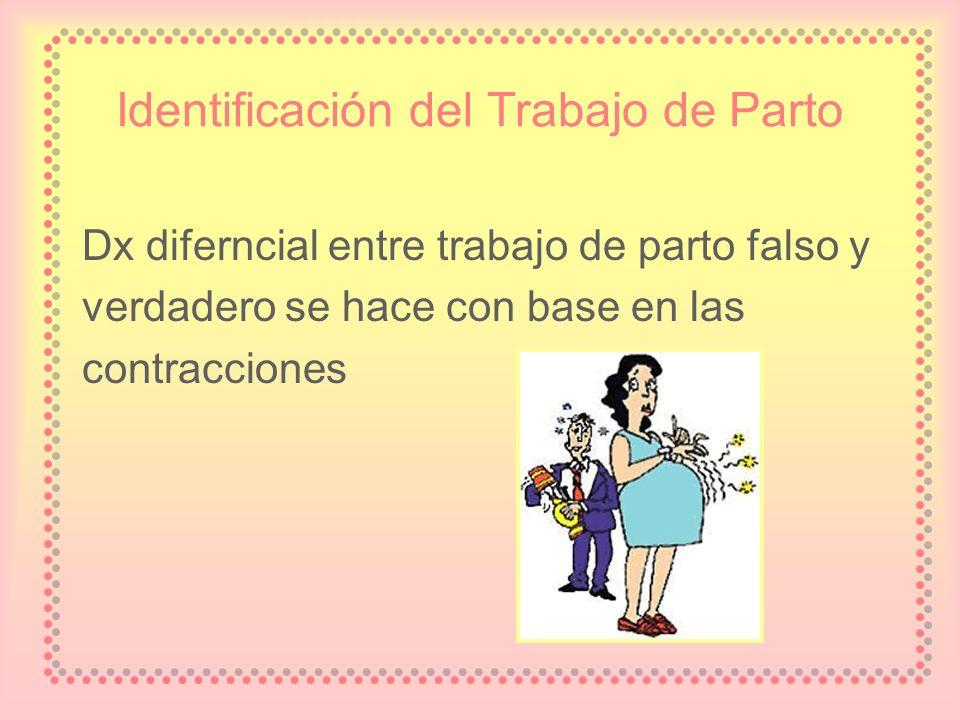 Identificación del Trabajo de Parto Dx diferncial entre trabajo de parto falso y verdadero se hace con base en las contracciones