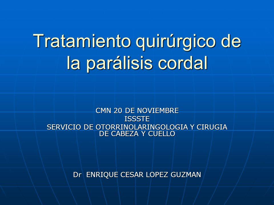 Tratamiento quirúrgico de la parálisis cordal CMN 20 DE NOVIEMBRE ISSSTE SERVICIO DE OTORRINOLARINGOLOGIA Y CIRUGIA DE CABEZA Y CUELLO Dr ENRIQUE CESAR LOPEZ GUZMAN