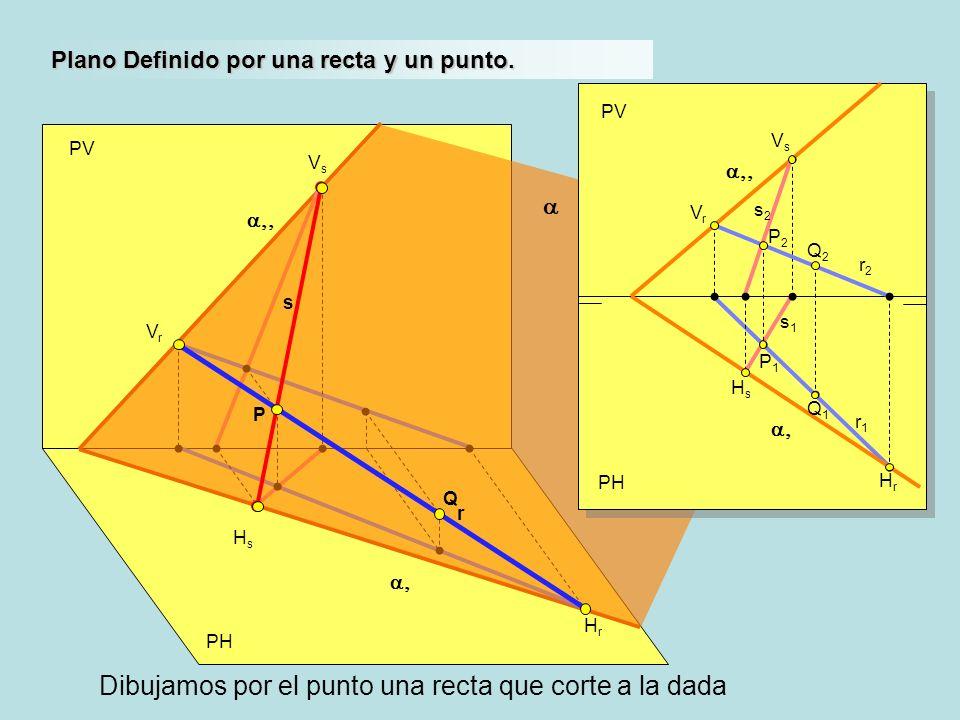 PH PV VrVr HrHr Plano Definido por una recta y un punto. HsHs VsVs P PH PV r1r1 VrVr HrHr HsHs VsVs s2s2 s1s1 Q1Q1 Q2Q2 r2r2 s r Q P1P1 P2P2 Dibujamos