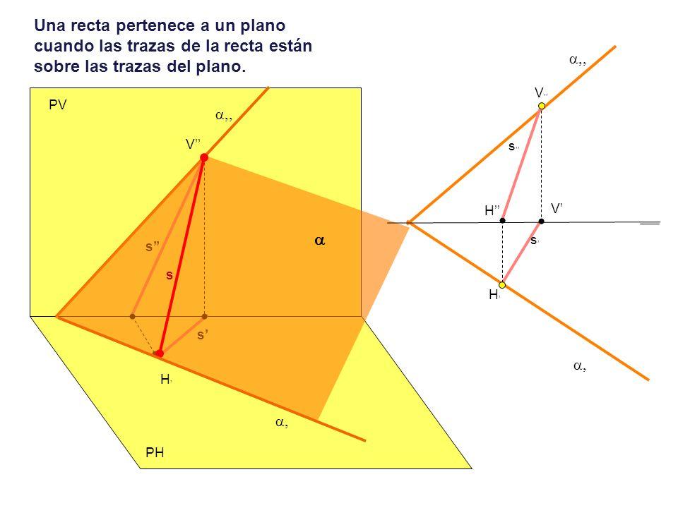 Un punto pertenece a un plano cuando sus proyecciones están sobre las proyecciones de una recta contenida en el plano.