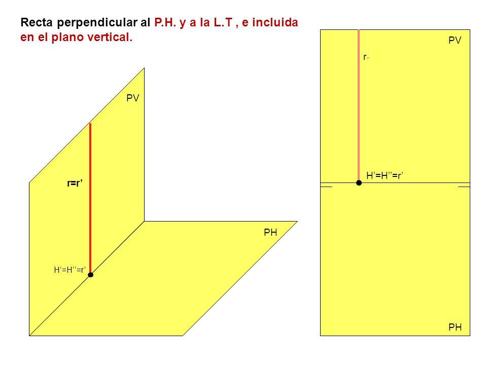 Recta perpendicular al P.H. y a la L.T, e incluida en el plano vertical. PV PH PV r=r r H=H=r