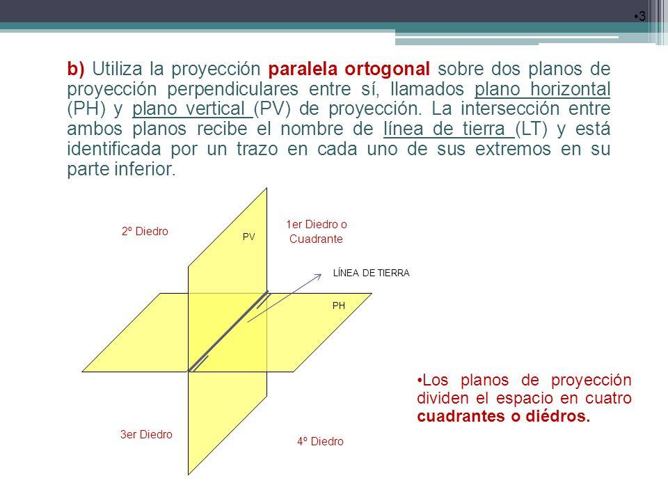 3 b) Utiliza la proyección paralela ortogonal sobre dos planos de proyección perpendiculares entre sí, llamados plano horizontal (PH) y plano vertical