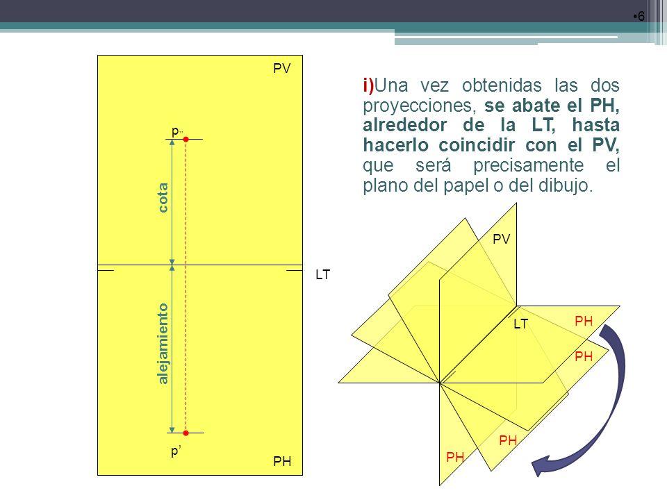 6 i)Una vez obtenidas las dos proyecciones, se abate el PH, alrededor de la LT, hasta hacerlo coincidir con el PV, que será precisamente el plano del