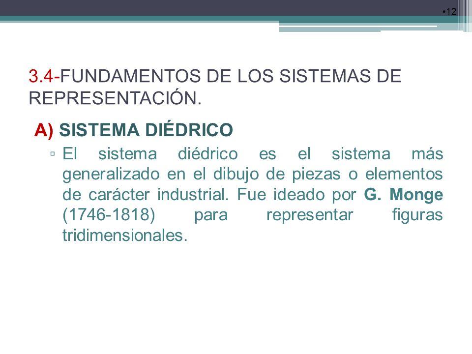 3.4-FUNDAMENTOS DE LOS SISTEMAS DE REPRESENTACIÓN. A) SISTEMA DIÉDRICO El sistema diédrico es el sistema más generalizado en el dibujo de piezas o ele
