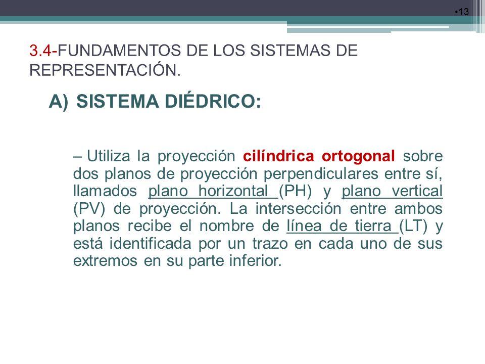 3.4-FUNDAMENTOS DE LOS SISTEMAS DE REPRESENTACIÓN. 13 A)SISTEMA DIÉDRICO: – Utiliza la proyección cilíndrica ortogonal sobre dos planos de proyección