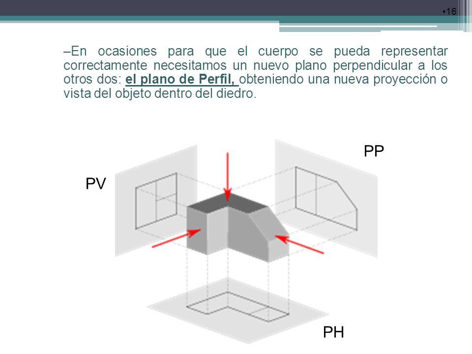 16 –En ocasiones para que el cuerpo se pueda representar correctamente necesitamos un nuevo plano perpendicular a los otros dos: el plano de Perfil, o
