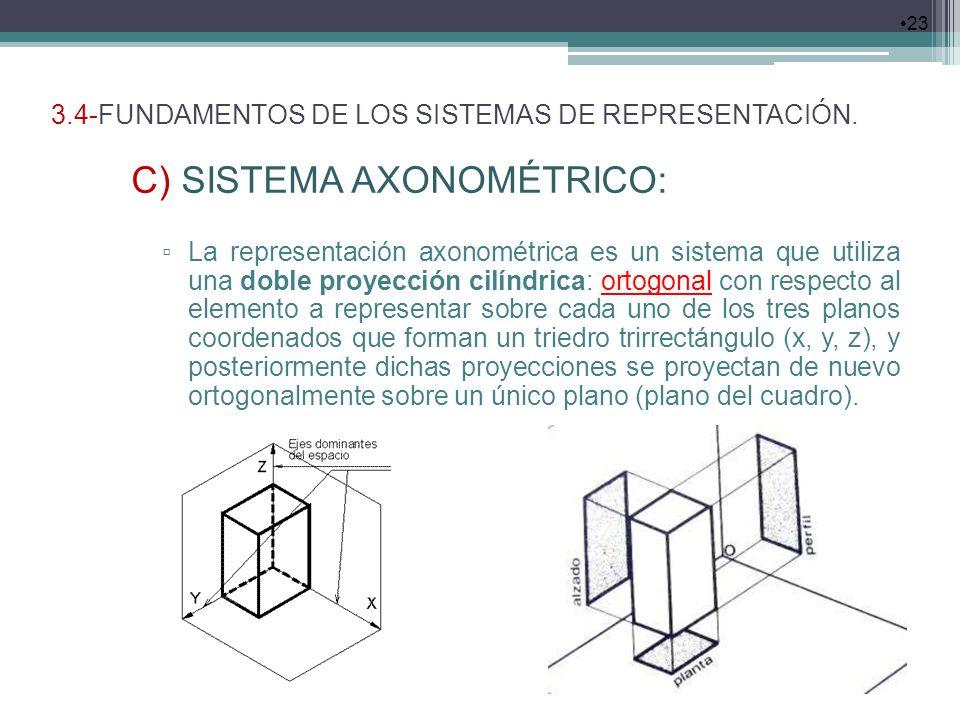 3.4-FUNDAMENTOS DE LOS SISTEMAS DE REPRESENTACIÓN. 23 C) SISTEMA AXONOMÉTRICO: La representación axonométrica es un sistema que utiliza una doble proy