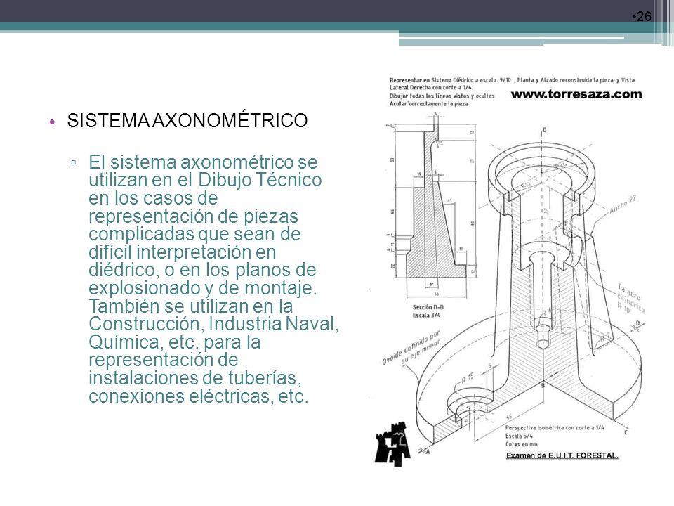 26 SISTEMA AXONOMÉTRICO El sistema axonométrico se utilizan en el Dibujo Técnico en los casos de representación de piezas complicadas que sean de difí