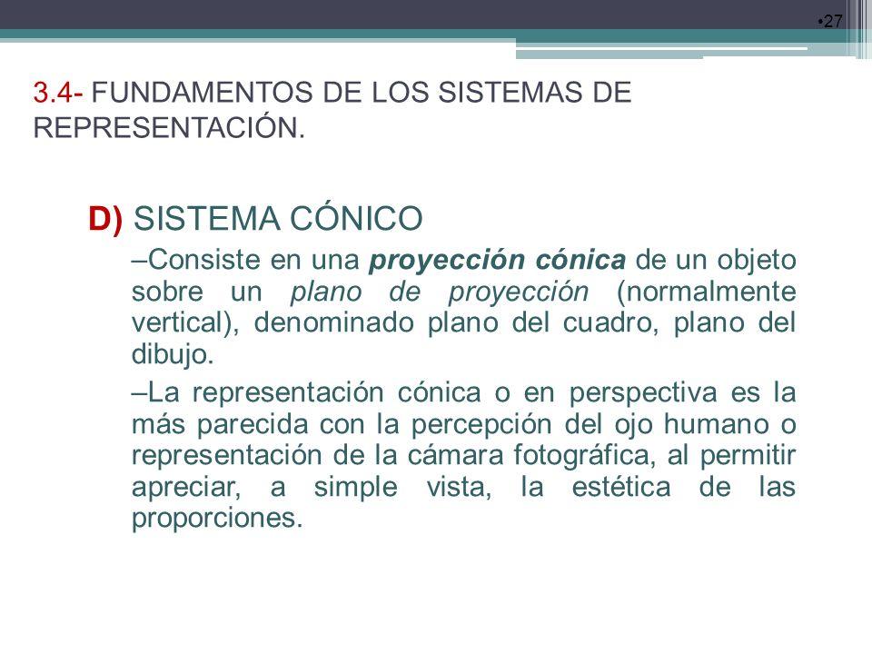 3.4- FUNDAMENTOS DE LOS SISTEMAS DE REPRESENTACIÓN. 27 D) SISTEMA CÓNICO –Consiste en una proyección cónica de un objeto sobre un plano de proyección