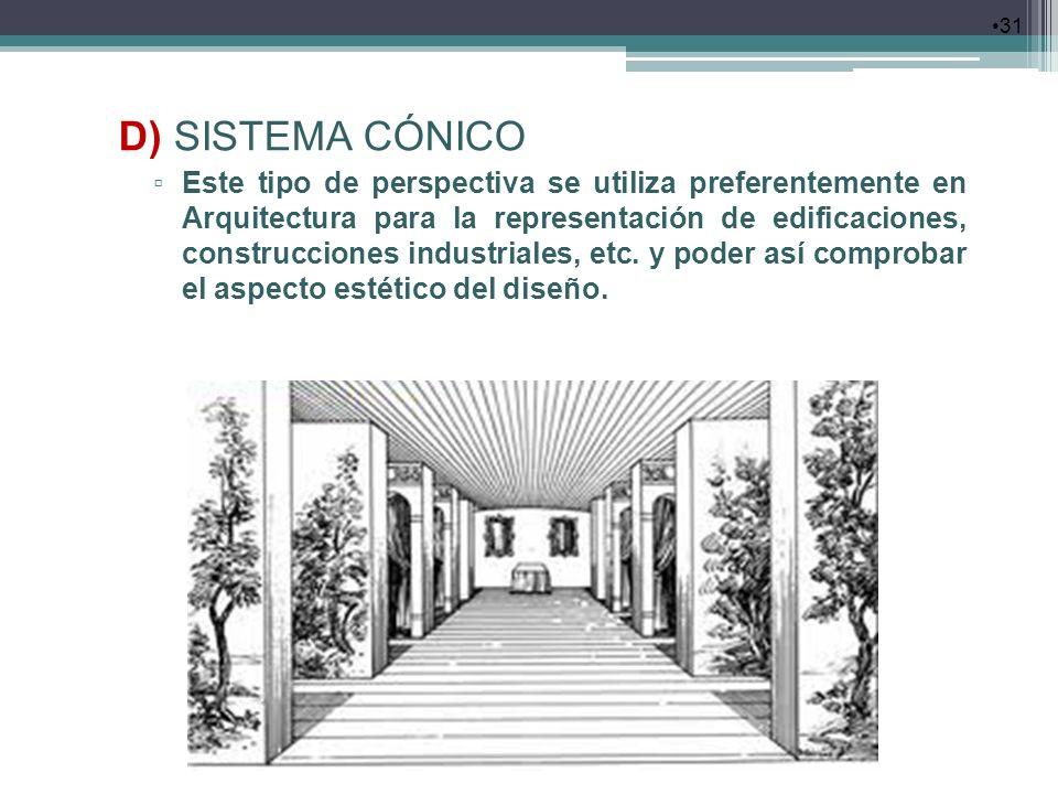 31 D) SISTEMA CÓNICO Este tipo de perspectiva se utiliza preferentemente en Arquitectura para la representación de edificaciones, construcciones indus