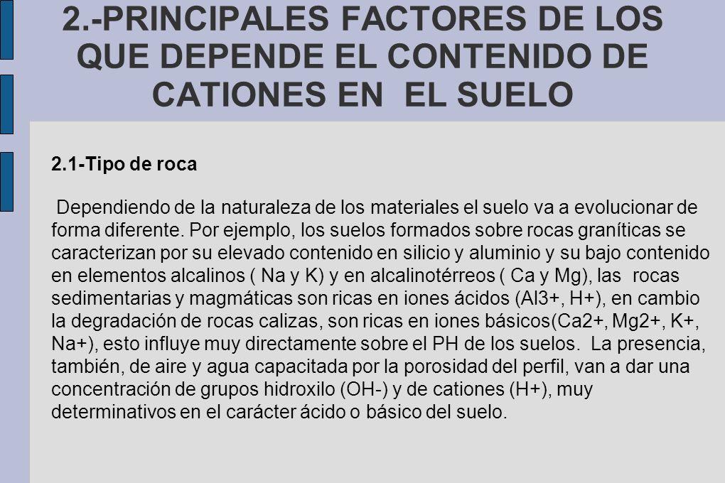 2.-PRINCIPALES FACTORES DE LOS QUE DEPENDE EL CONTENIDO DE CATIONES EN EL SUELO 2.1-Tipo de roca Dependiendo de la naturaleza de los materiales el sue
