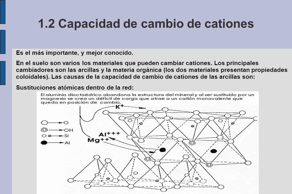 1.2 Capacidad de cambio de cationes Es el más importante, y mejor conocido. En el suelo son varios los materiales que pueden cambiar cationes. Los pri