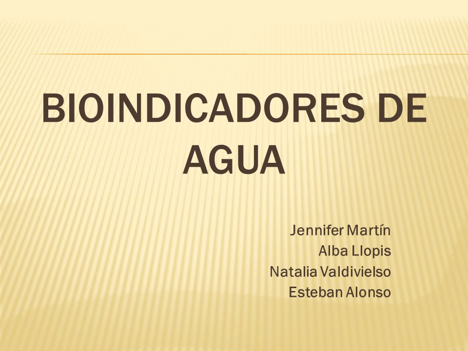BIOINDICADORES DE AGUA Jennifer Martín Alba Llopis Natalia Valdivielso Esteban Alonso