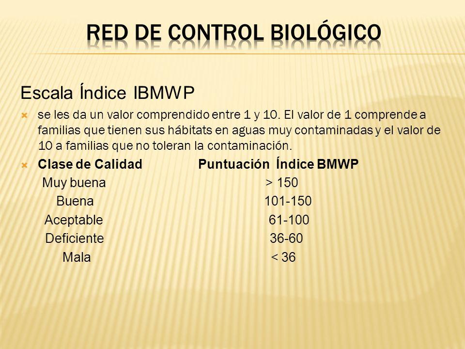 Escala Índice IBMWP se les da un valor comprendido entre 1 y 10. El valor de 1 comprende a familias que tienen sus hábitats en aguas muy contaminadas