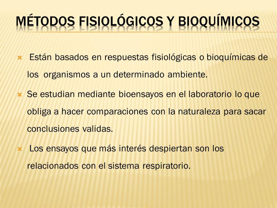 Están basados en respuestas fisiológicas o bioquímicas de los organismos a un determinado ambiente. Se estudian mediante bioensayos en el laboratorio