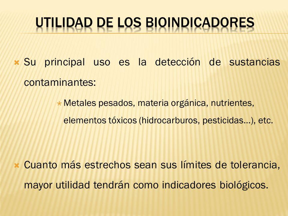 Su principal uso es la detección de sustancias contaminantes: Metales pesados, materia orgánica, nutrientes, elementos tóxicos (hidrocarburos, pestici