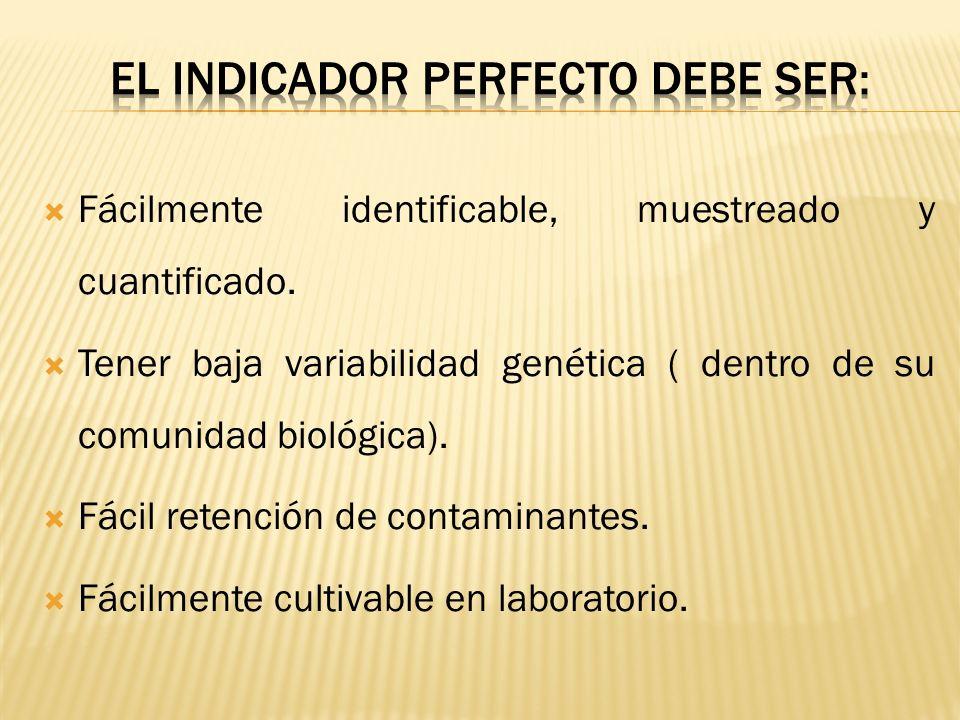 Fácilmente identificable, muestreado y cuantificado. Tener baja variabilidad genética ( dentro de su comunidad biológica). Fácil retención de contamin