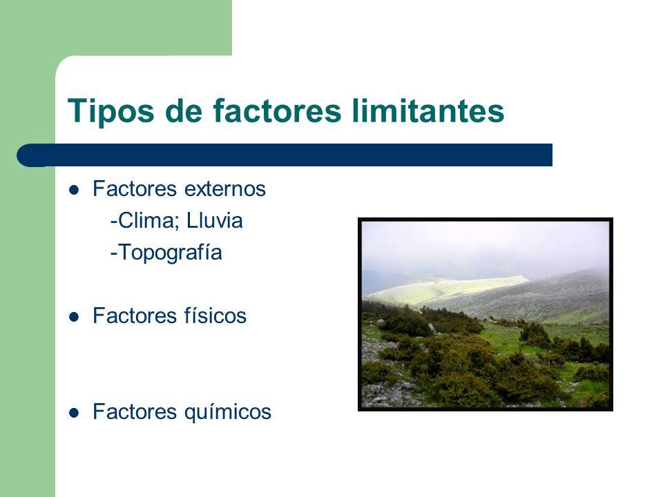 Tipos de factores limitantes Factores externos -Clima; Lluvia -Topografía Factores físicos Factores químicos