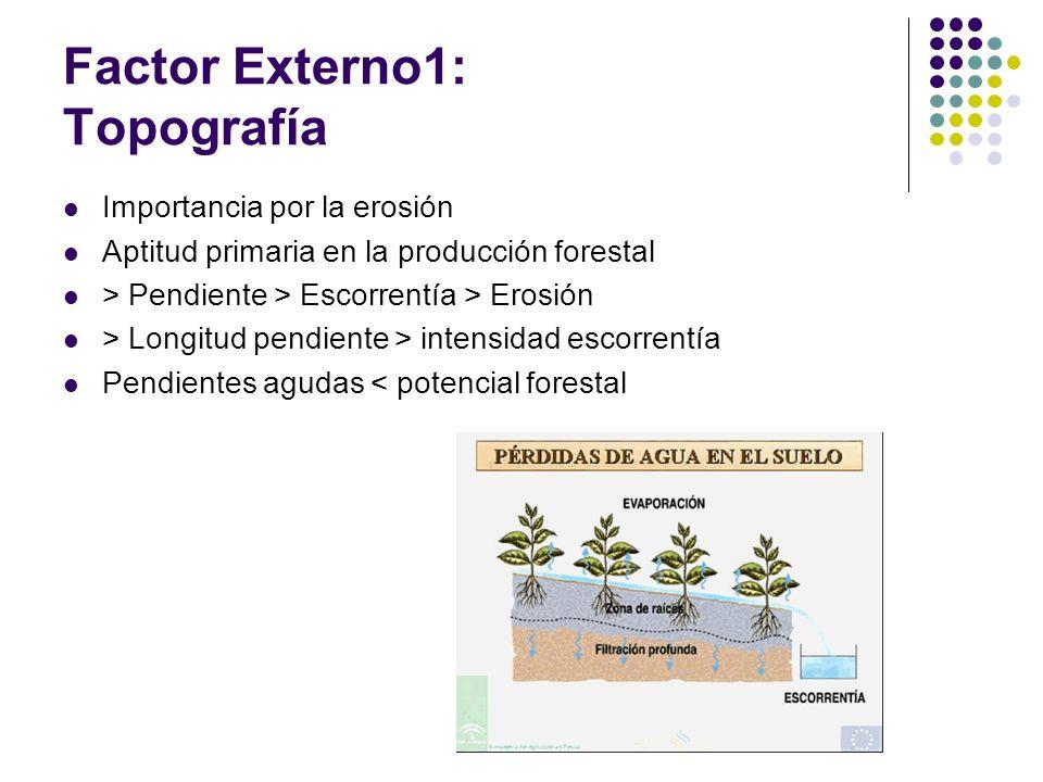 Factor Externo1: Topografía Importancia por la erosión Aptitud primaria en la producción forestal > Pendiente > Escorrentía > Erosión > Longitud pendi