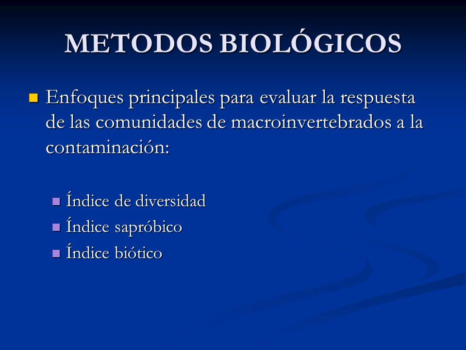 METODOS BIOLÓGICOS Enfoques principales para evaluar la respuesta de las comunidades de macroinvertebrados a la contaminación: Enfoques principales pa