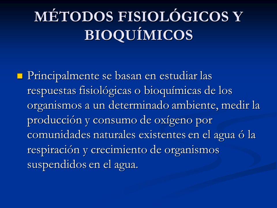 MÉTODOS FISIOLÓGICOS Y BIOQUÍMICOS Principalmente se basan en estudiar las respuestas fisiológicas o bioquímicas de los organismos a un determinado am