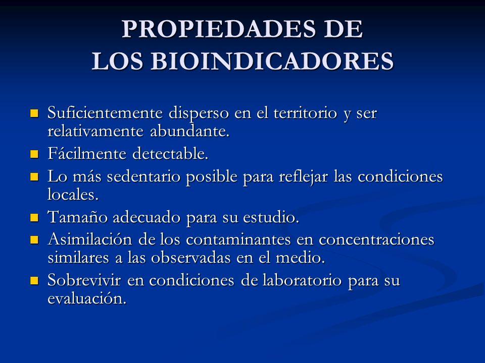 PROPIEDADES DE LOS BIOINDICADORES Suficientemente disperso en el territorio y ser relativamente abundante. Suficientemente disperso en el territorio y