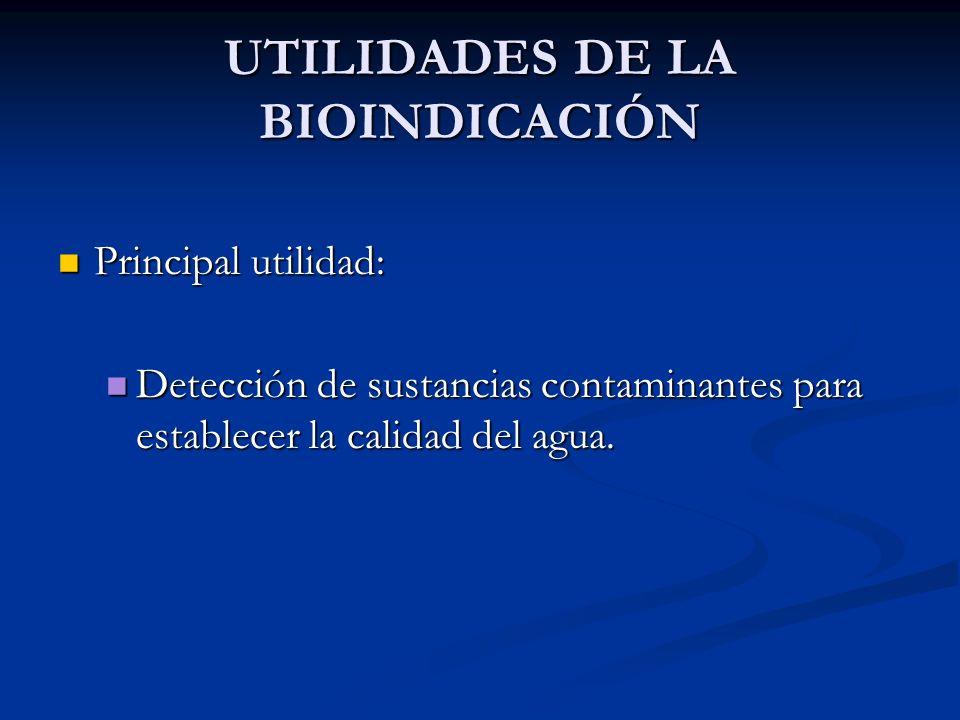 UTILIDADES DE LA BIOINDICACIÓN Principal utilidad: Principal utilidad: Detección de sustancias contaminantes para establecer la calidad del agua. Dete