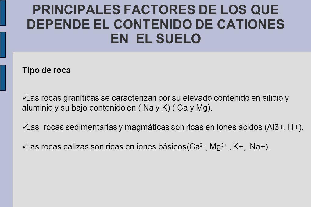 PRINCIPALES FACTORES DE LOS QUE DEPENDE EL CONTENIDO DE CATIONES EN EL SUELO Tipo de roca Las rocas graníticas se caracterizan por su elevado contenid
