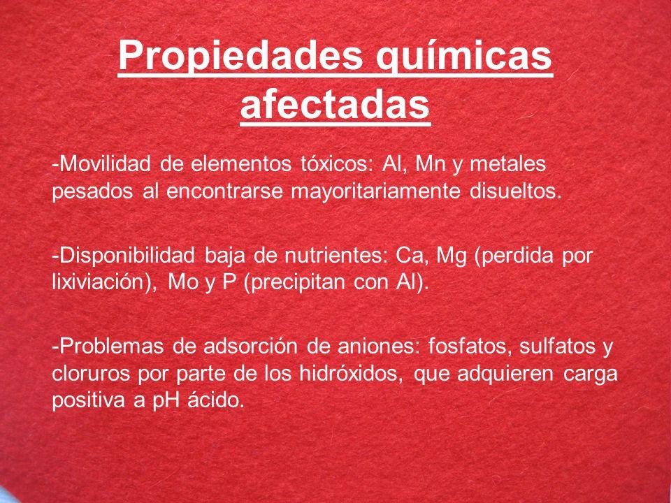 Propiedades químicas afectadas -Movilidad de elementos tóxicos: Al, Mn y metales pesados al encontrarse mayoritariamente disueltos. -Disponibilidad ba