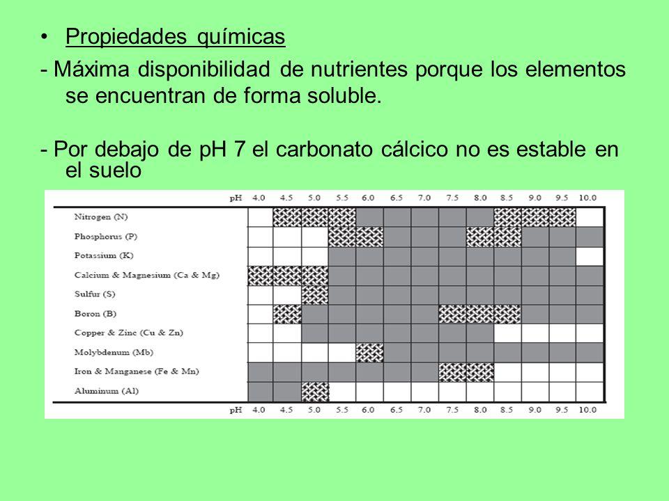 Propiedades químicas - Máxima disponibilidad de nutrientes porque los elementos se encuentran de forma soluble. - Por debajo de pH 7 el carbonato cálc