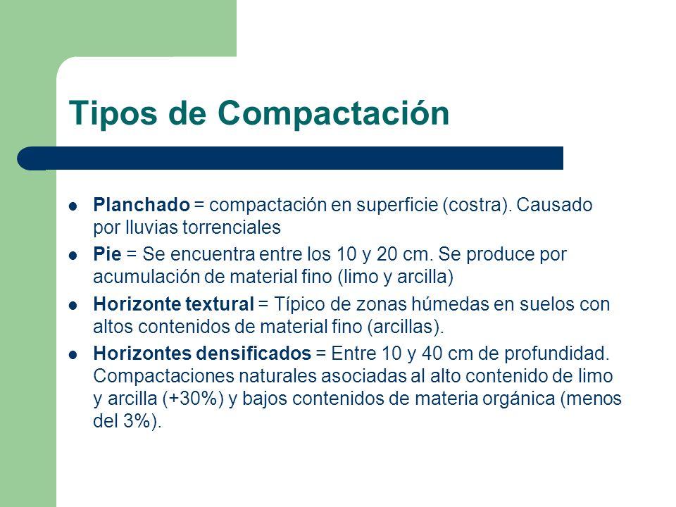 Tipos de Compactación Planchado = compactación en superficie (costra). Causado por lluvias torrenciales Pie = Se encuentra entre los 10 y 20 cm. Se pr