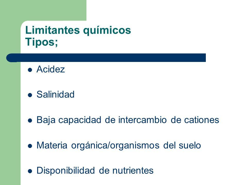 Limitantes químicos Tipos; Acidez Salinidad Baja capacidad de intercambio de cationes Materia orgánica/organismos del suelo Disponibilidad de nutrient